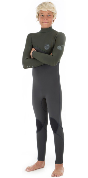 2018 Rip Curl Junior Flashbomb 4/3mm Zip Free Wetsuit KHAKI WSM8MB