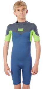 2021 Rip Curl Boys Dawn Patrol 2mm Back Zip Shorty Wetsuit WSP8EJ - Blue Grey