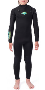 2019 Rip Curl Junior Dawn Patrol 3/2mm Chest Zip Wetsuit Black / Green WSM9KB