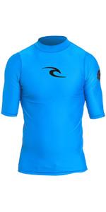 2020 Rip Curl Junior Boys Corpo S / S UV Tee Rash Vest Blue WLY5DB