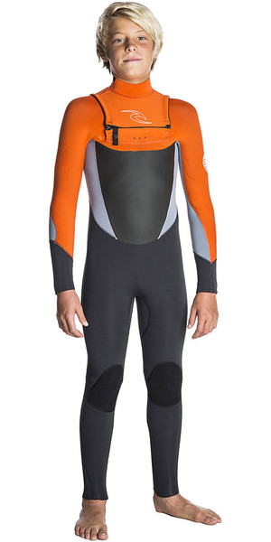 2018 Rip Curl Junior Dawn Patrol 5/3mm GBS Chest Zip Wetsuit Grey / Orange WSM7GB