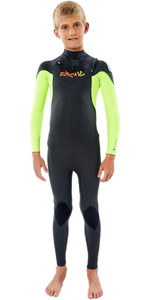 2021 Rip Curl Junior Dawn Patrol 5/3mm Chest Zip Wetsuit WSM9PB - Fluro Lemon