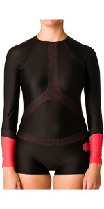 Rip Curl Womens Long Sleeve BoyLeg UV Surf Lycra Suit Black / Red WLY6KW