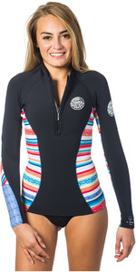 Rip Curl Womens G-Bomb 1mm Long Sleeve Front Zip Neo Jacket STRIPE WVE6KW
