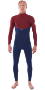 2021 Rip Curl Mens E-Bomb 3/2mm Zip Free Wetsuit WSMYVE - Navy / Red