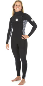2019 Rip Curl Womens Dawn Patrol 4/3mm GBS Chest Zip Wetsuit BLACK / WHITE WSM8JS