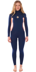 2020 Rip Curl Womens Dawn Patrol 4/3mm Chest Zip Wetsuit WSM9NW - Navy