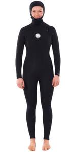 2020 Rip Curl Womens Dawn Patrol 5/4mm Hooded Chest Zip Wetsuit WSMYHW - Black