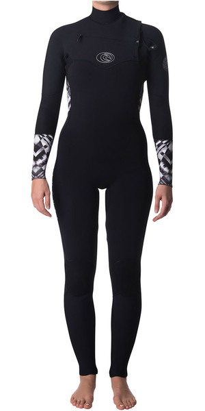 2018 Rip Curl Womens Flashbomb 5/3mm Chest Zip Wetsuit BLACK / WHITE WSM7GS