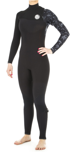 2019 Rip Curl Womens G Bomb 4/3mm Zip Free Wetsuit BLACK WSM8IG