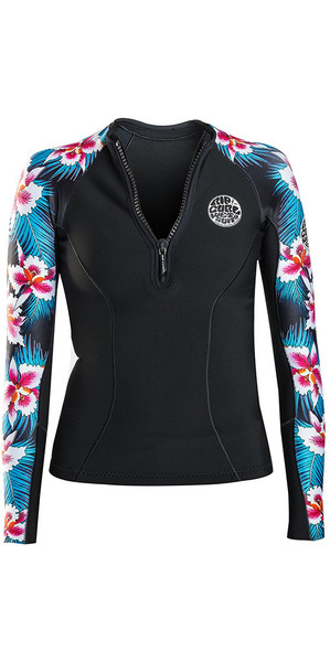 2018 Rip Curl Womens G-Bomb 1mm Long Sleeve Front Zip Neo Jacket Black SUB WVE6KW