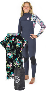 Rip Curl Womens G Bomb 3/2mm Zip Free Wetsuit + Cloudbreak Change Poncho & Small Wetsack