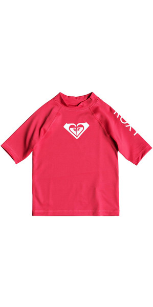 2018 Roxy Toddler Wholehearted Short Sleeve Rash Vest ROUGE RED ERLWR03074