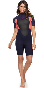 2019 Roxy 2mm Prologue Spring Shorty Wetsuit Blue Ribbon / Coral ERJW503010