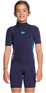 2020 Roxy Girls 3/2mm Syncro Back Zip Shorty Wetsuit ERGW503004 - Blue / Coral