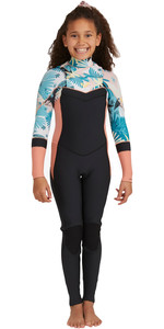 2021 Roxy Girls Syncro 3/2mm Chest Zip GBS Wetsuit ERGW103045 - Black / Pale Coral / Butter