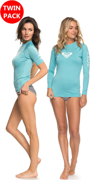2018 Roxy Womens Wholehearted LS & SS Rash Vest AQUARELLE Bundle Offer