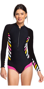 2019 Roxy Womens 1mm Pop Surf Long Sleeve Cheeky Spring Shorty Wetsuit Black ERJW403021