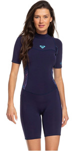 2020 Roxy Womens 2mm Syncro Back Zip Spring Shorty Wetsuit ERJW503007 - Blue / Coral