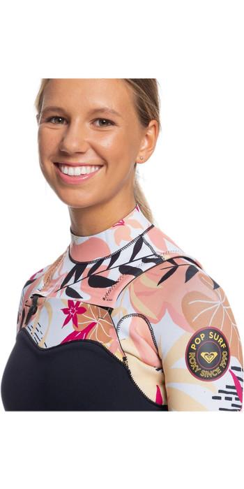 2020 Roxy Womens 3/2mm Pop Surf Chest Zip Wetsuit ERJW103047 - Black / Terracotta