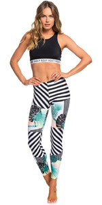 2019 Roxy Womens Pop Surf UV Leggings True Black Crazy Vic ERJWR03293