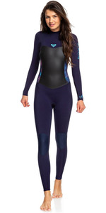 2019 Roxy Womens Syncro 4/3mm Back Zip Wetsuit Blue Ribbon / Coral Flame ERJW103027
