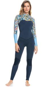 2021 Roxy X Liberty Womens Marine Bloom 3/2mm Chest Zip Wetsuit ERJW103091 - Dark Navy