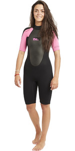 2020 Billabong Womens Launch 2mm Back Zip Shorty Wetsuit Black / Hot Pink S42G03