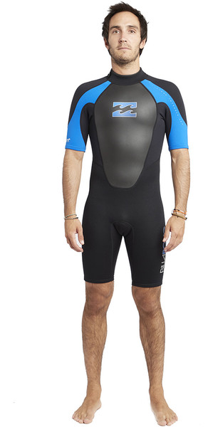 2018 Billabong Intruder 2mm Back Zip Shorty Black / Blue S42M21