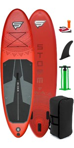 2021 Storm Freeride 10'4 Inflatable Stand Up Paddle Board Package - Board, Bag, Pump - Red