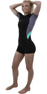 2019 O'Neill Womens Bahia 2/1mm Front Zip Shorty Wetsuit Black / Dusk / Seaglass 5293