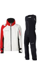 2019 Slam WIN-D Racing Jacket & Salopette Combi Set - White / Red / Black