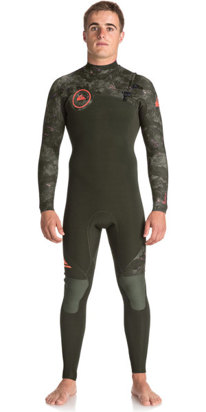 2018 Quiksilver Syncro Series 3/2mm GBS Chest Zip Wetsuit DARK IVY / CAMO EQYW103038