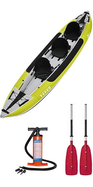 2018 Z-Pro Tango 3 Man Inflatable Kayak TA300 GREEN & 2 PADDLES & Stirrup Pump