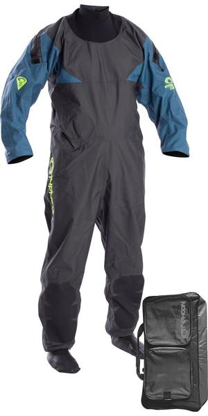2019 Typhoon Hypercurve 4 Back Zip Drysuit with Socks Teal / Grey Including Walrus Bag 100170