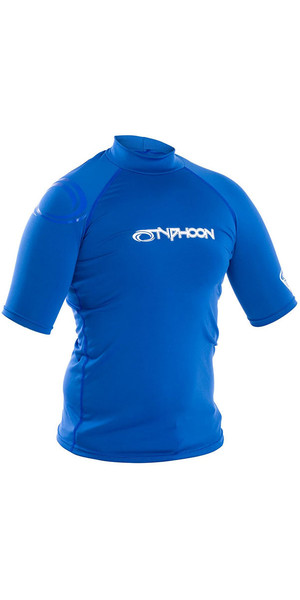 2019 Typhoon Junior Short Sleeve Rash Vest Aqua Blue 430073