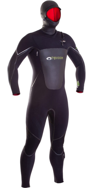 2018 Typhoon Hooded Kona 6/5/4mm GBS Chest Zip Wetsuit BLACK 250615