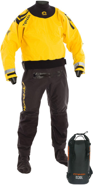 2018 Typhoon Multisport 5 Hinge Drysuit + CON ZIP BLACK / YELLOW Including 30L Drybackpack 100165