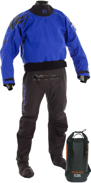 2018 Typhoon Multisport 5 Latex Seal Drysuit + Con Zip BLUE / BLACK Including 30L Drybackpack 100166