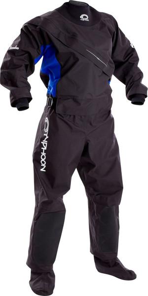 2019 Typhoon Womens Ezeedon 3 Front Zip Drysuit Black / Blue 100159 2ND