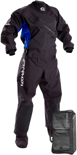 2019 Typhoon Womens Ezeedon 3 Front Zip Drysuit Black / Blue Including Walrus Bag 100159