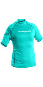 2019 Typhoon Junior Short Sleeve Rash Vest Aqua Green 430075