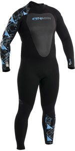 2020 Typhoon Womens Vortex 5/4mm GBS Back Zip Wetsuit 250683 - Black / Sky Blue
