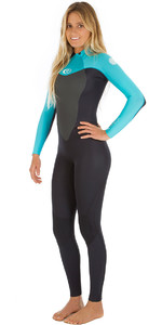 2018 Rip Curl Womens Omega 4/3mm GBS Back Zip Wetsuit Black / Turquoise WSM4CW