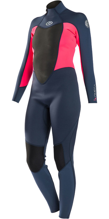 Rip Curl Womens Omega 3/2mm Back Zip Flatlock Wetsuit WSM4KW - Neon Pink