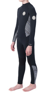2019 Rip Curl Junior Girls Dawn Patrol 5/3mm GBS Back Zip Wetsuit Black / White WSM8CS