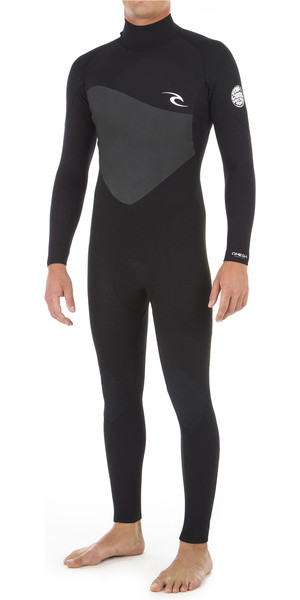 2019 Rip Curl Mens Omega 3/2mm Flatlock Back Zip Wetsuit Black WSM8KM