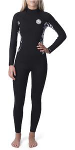 2019 Rip Curl Womens Dawn Patrol 4/3mm Chest Zip Wetsuit Black / Black WSM9BS