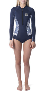 2019 Rip Curl Womens G-Bomb Searchers 2mm Long Sleeve Shorty Wetsuit Dark Blue WSP7LW