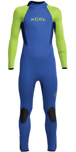 2020 Xcel Junior Axis 5/4mm Back Zip Wetsuit KN54AXG0B - Blue / Lime